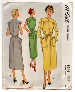 "1950's McCall One-Piece Dress Pattern with Large Patch Pockets - Bust 30"" - 34"" - No. 8246"