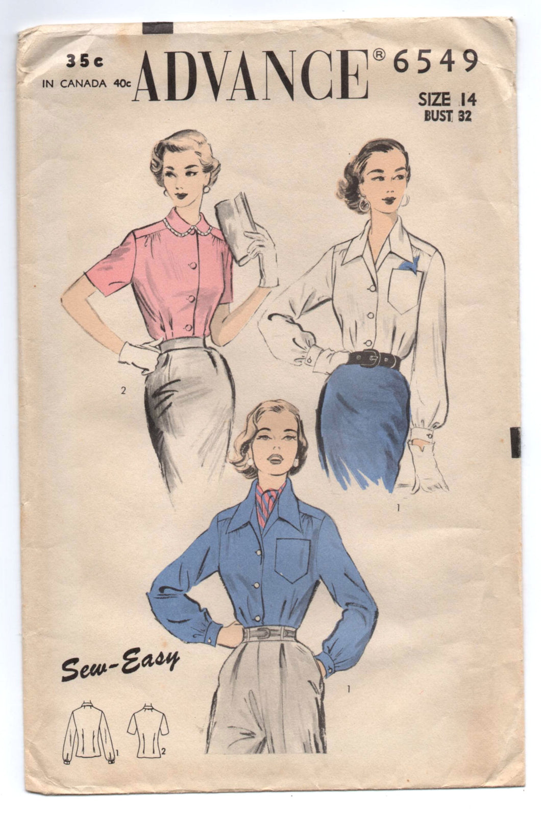1950's Advance Button Up Blouse Pattern with Wide or Peter pan Collar - Bust 32