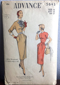 "1950's Advance One-Piece Dress with Kimono sleeves, Cuffs, and Large Bow Pattern - Bust 34"" - No. 5643"