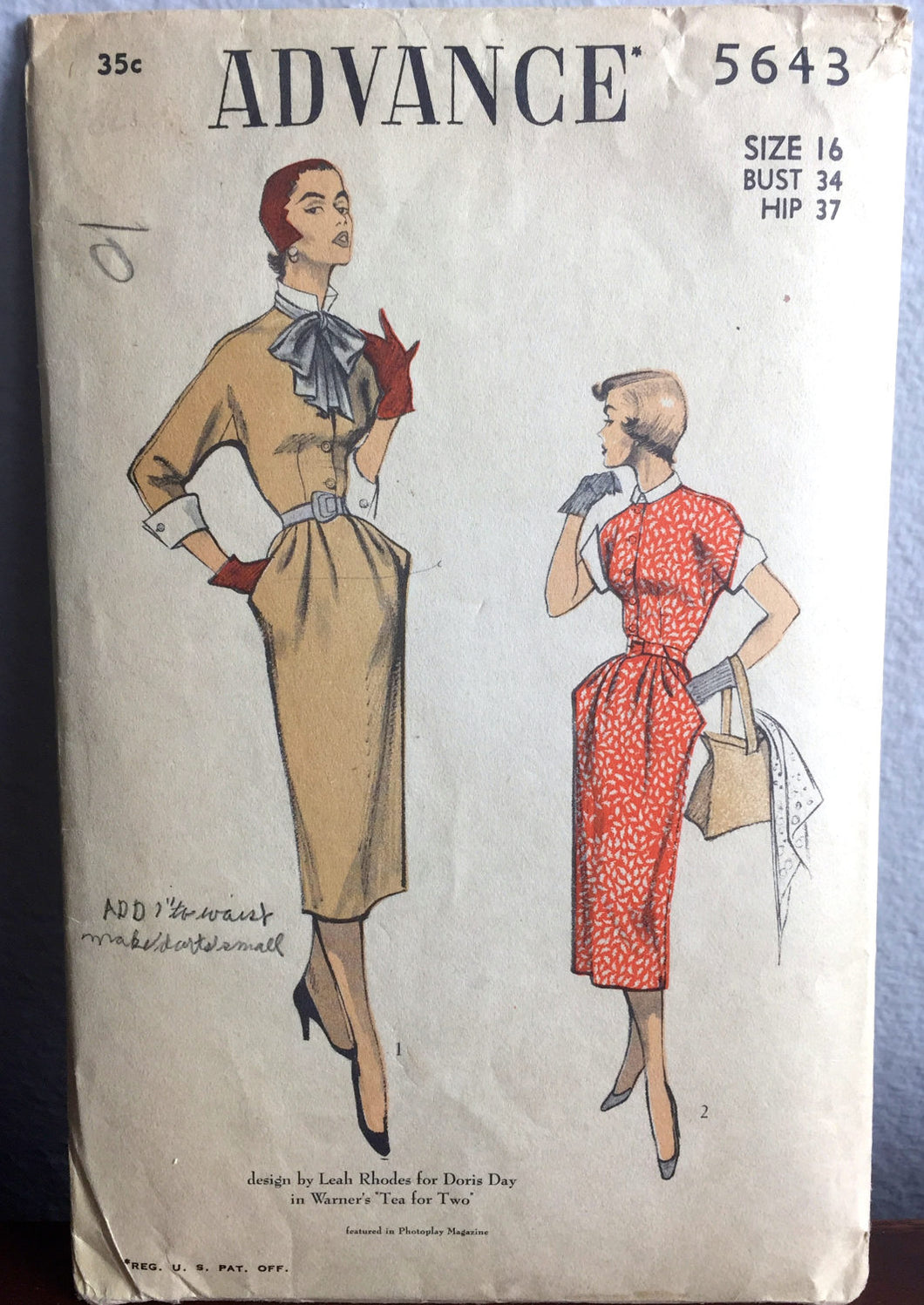 1950's Advance One-Piece Dress with Kimono sleeves, Cuffs, and Large Bow Pattern - Bust 34