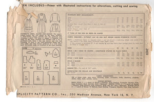"1940's Simplicity Maternity Dress, Jumper and Blouse Pattern - Bust 34"" - No. 2459"