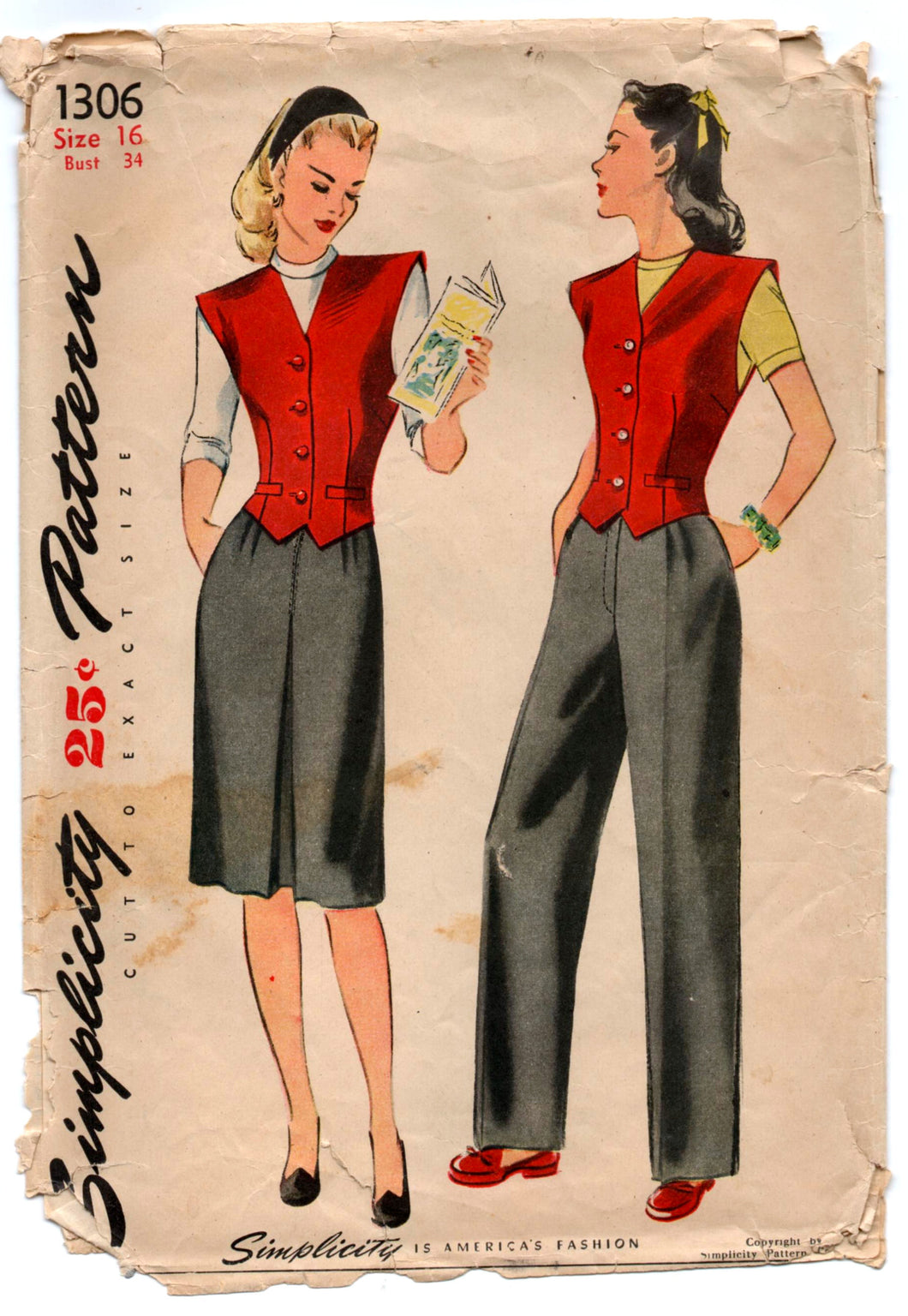 1940's Simplicity Skirt, Pants and Vest Pattern - Bust 34