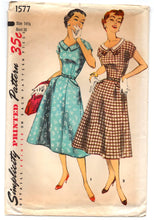 "1940's Simplicity One Piece Dress Pattern with pockets and kimono sleeves - Bust 35"" - UC/FF - No. 1577"