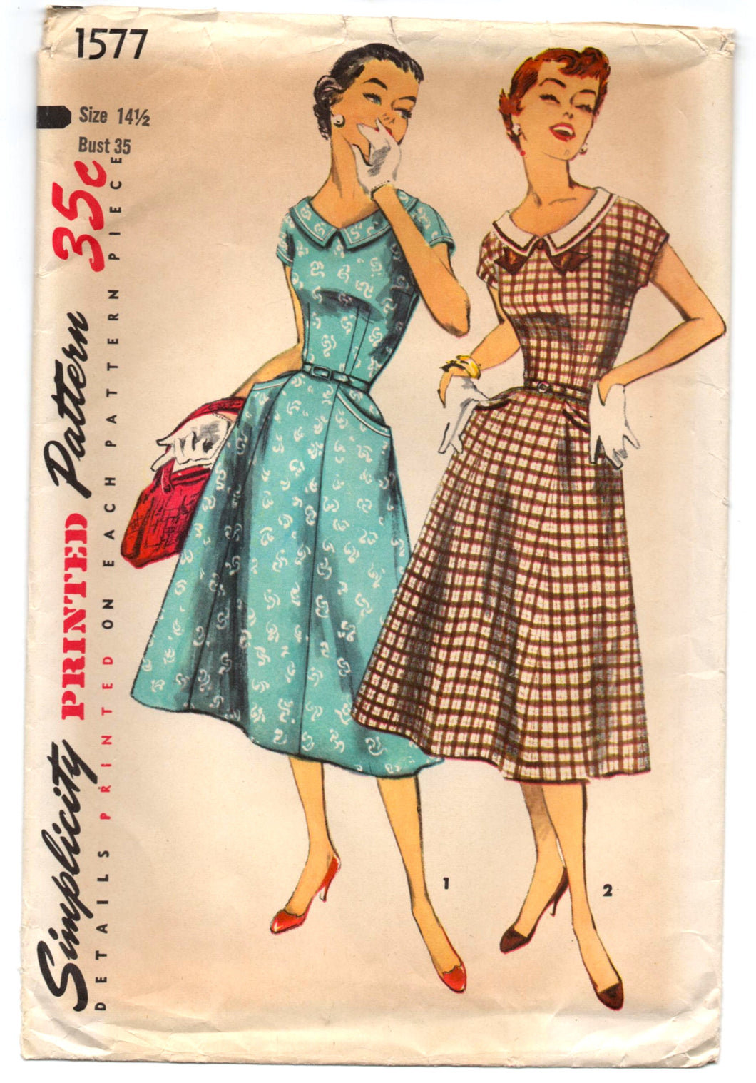 1940's Simplicity One Piece Dress Pattern with pockets and kimono sleeves - Bust 35