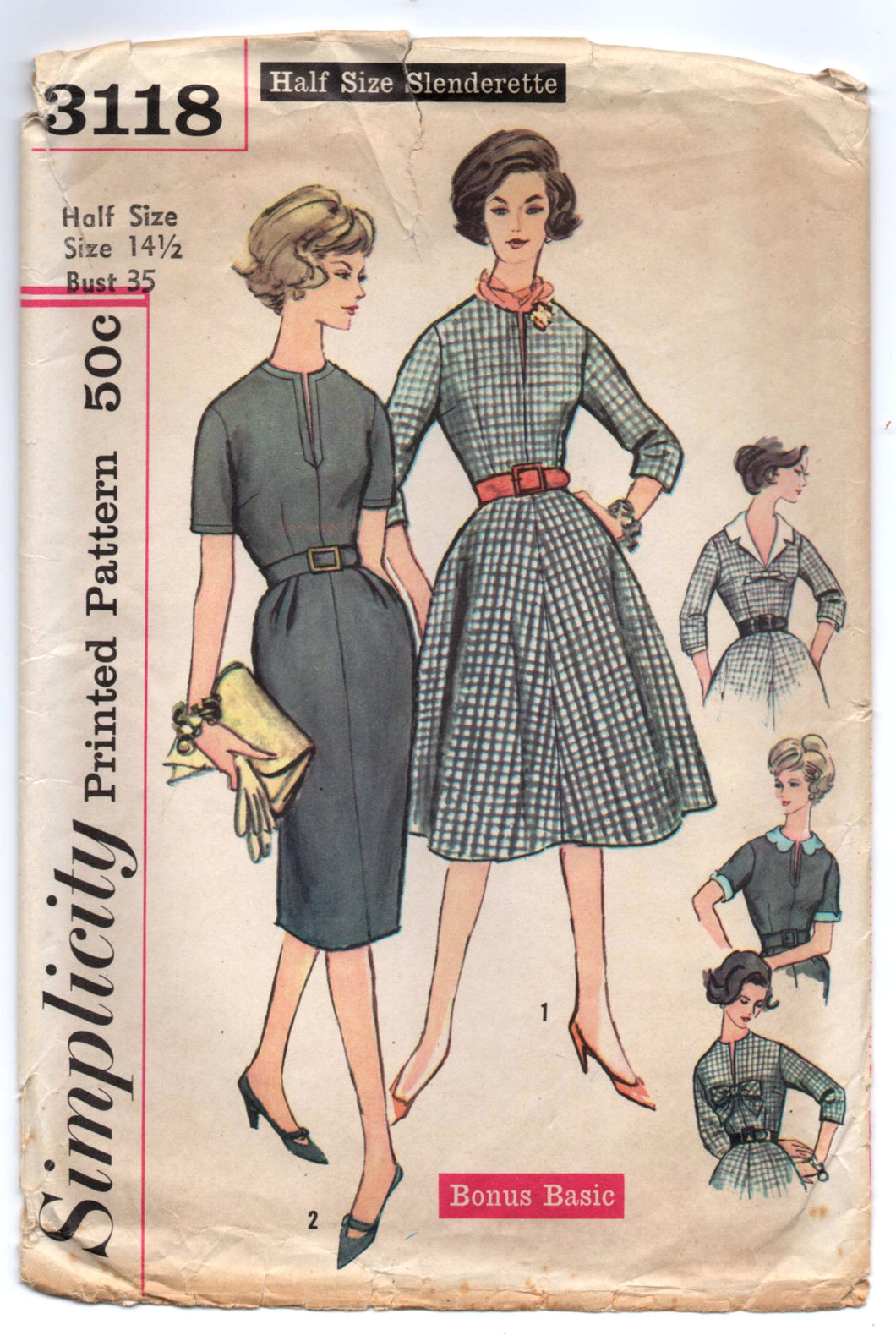 1950's Simplicity One-Piece Rockabilly or Wiggle Dress with detachable collar and Bow trim - Bust 35