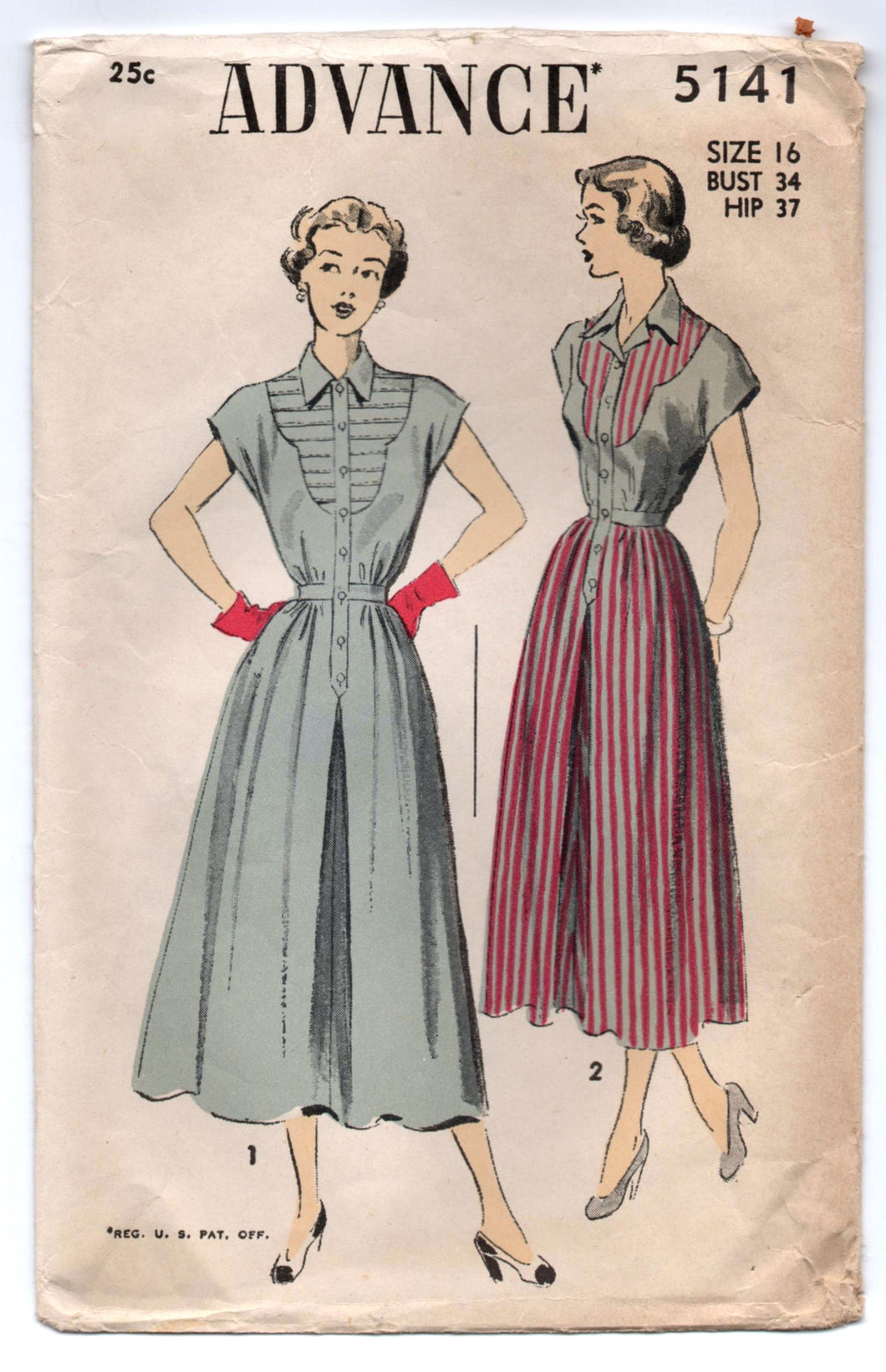 1950's Advance One Piece Dress Pattern with Contrast front and A line skirt - Bust 34