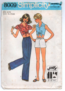 "1970's Simplicity Tie Top, Shorts, and Wide Leg Pants Pattern - Bust 32"" - UC/FF - No. 8009"