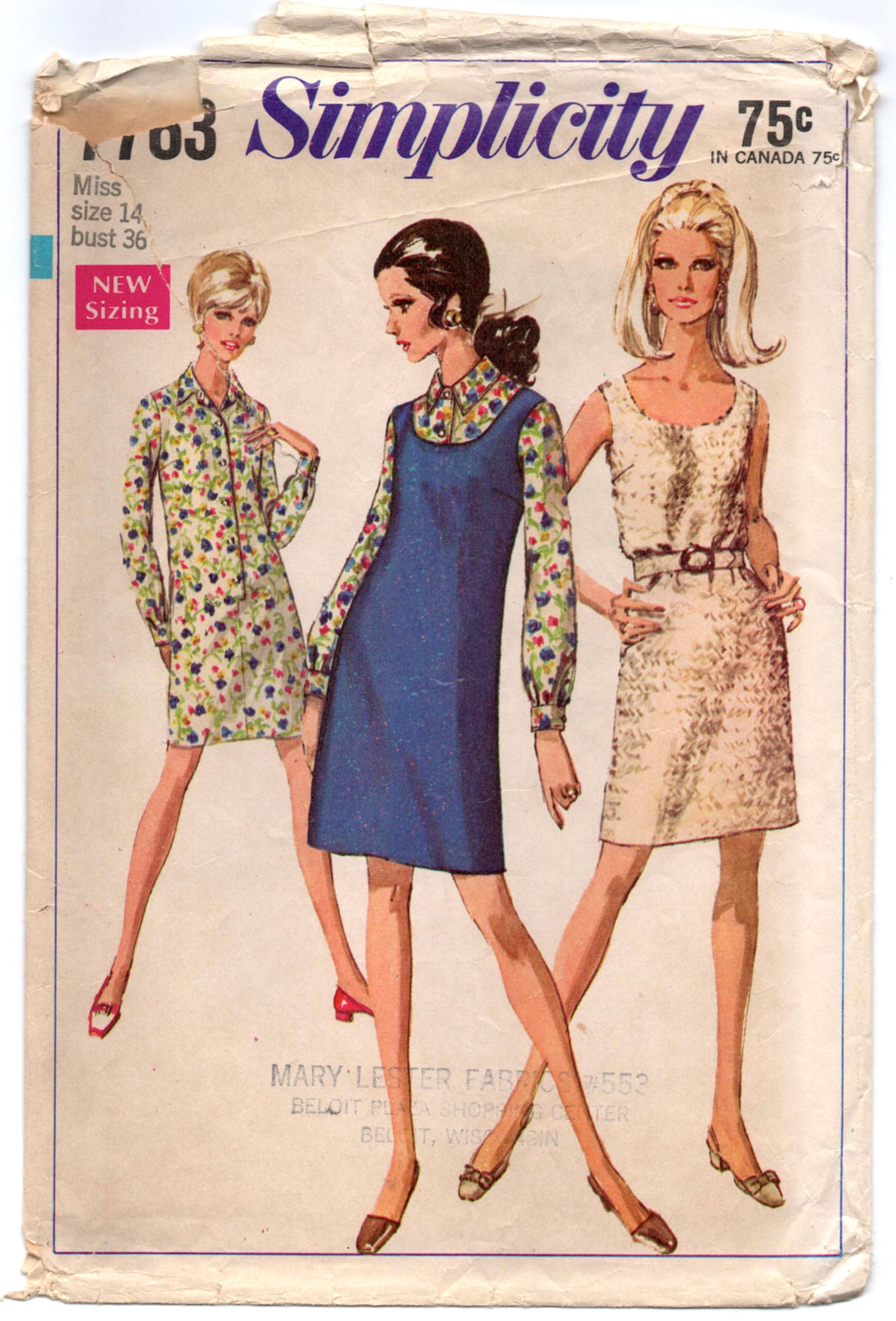 1960's Simplicity One-Piece Dress or Shirtwaist Dress Pattern - Bust 36