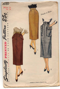 "1950's Simplicity Slim  Skirt with Patch Pockets Pattern - Waist 24"" - no. 3330"
