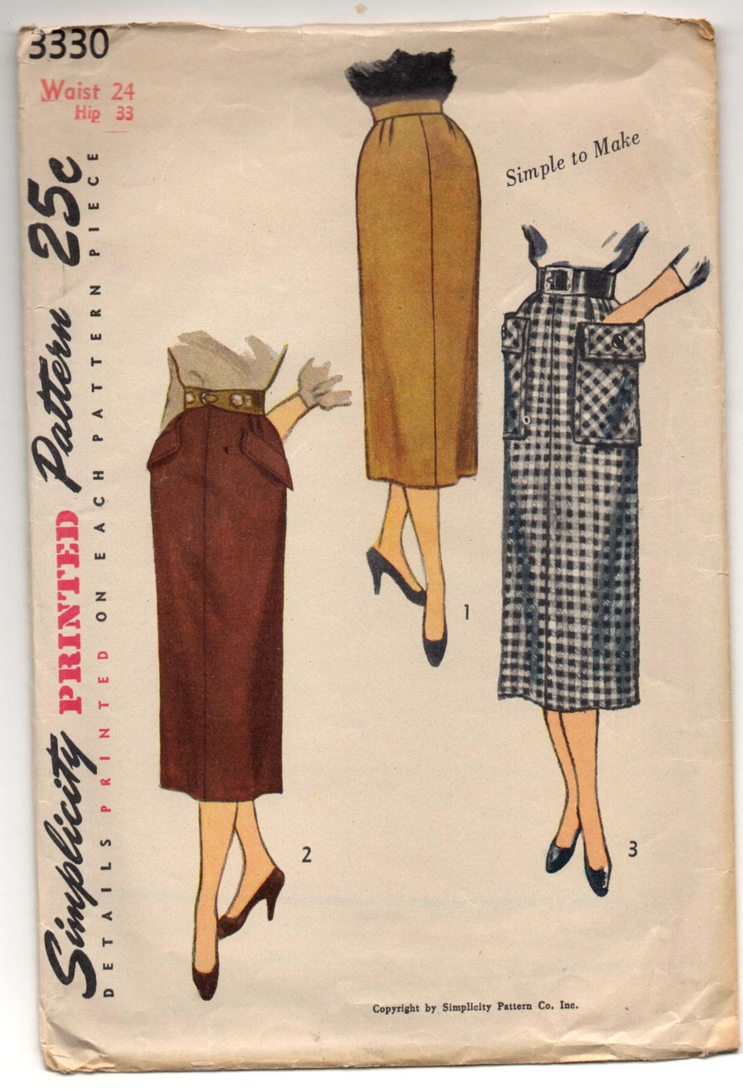 1950's Simplicity Slim  Skirt with Patch Pockets Pattern - Waist 24