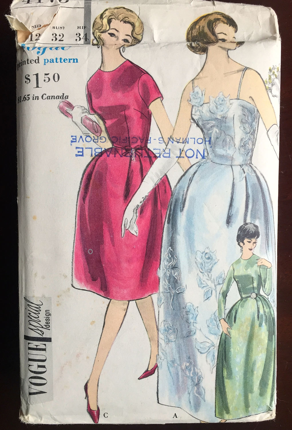 1950's Vogue Special Design Evening Dress or Cocktail Dress with Bell Skirt Pattern - Bust 32