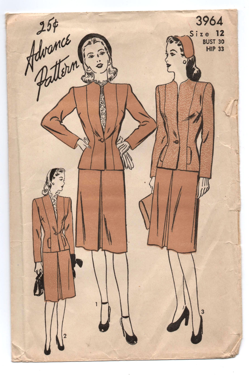 1940's Advance Two-Piece Suit with single button Jacket Pattern - Bust 30