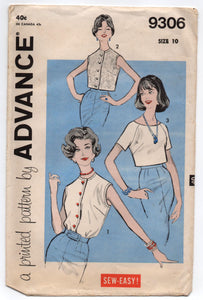 "1960's Advance Summer Blouse and Shirt Pattern - Bust 31"" - No. 9306"