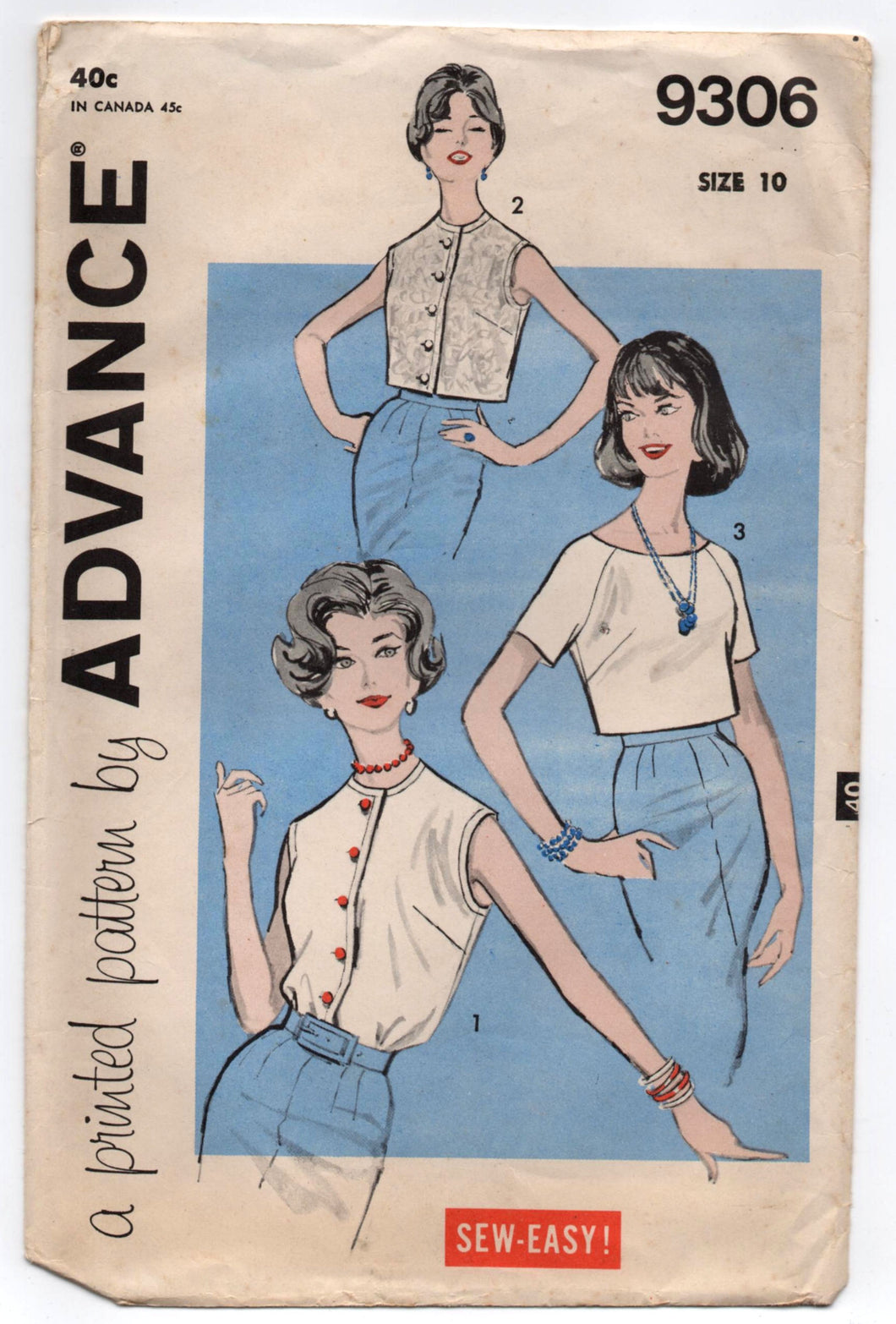 1960's Advance Summer Blouse and Shirt Pattern - Bust 31