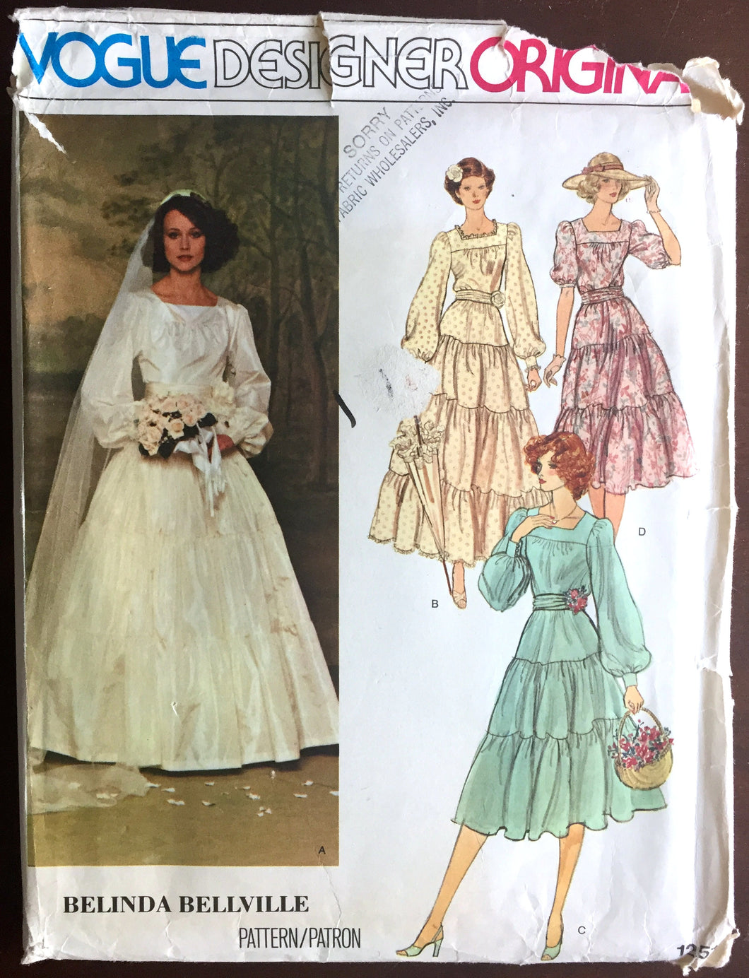 1970's Vogue Designer Wedding Dress, Petticoat and Bridesmaid Dress Pattern - Bust 32.5