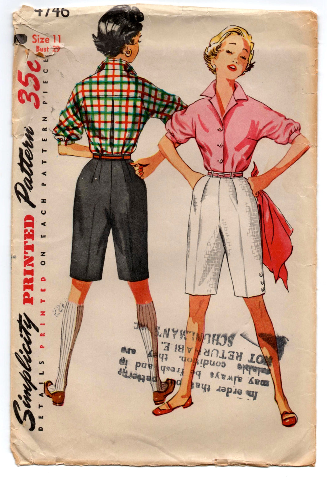 1950's Simplicity Button-Up Blouse with Elbow Length Sleeves and High Waisted Shorts Pattern - Bust 29