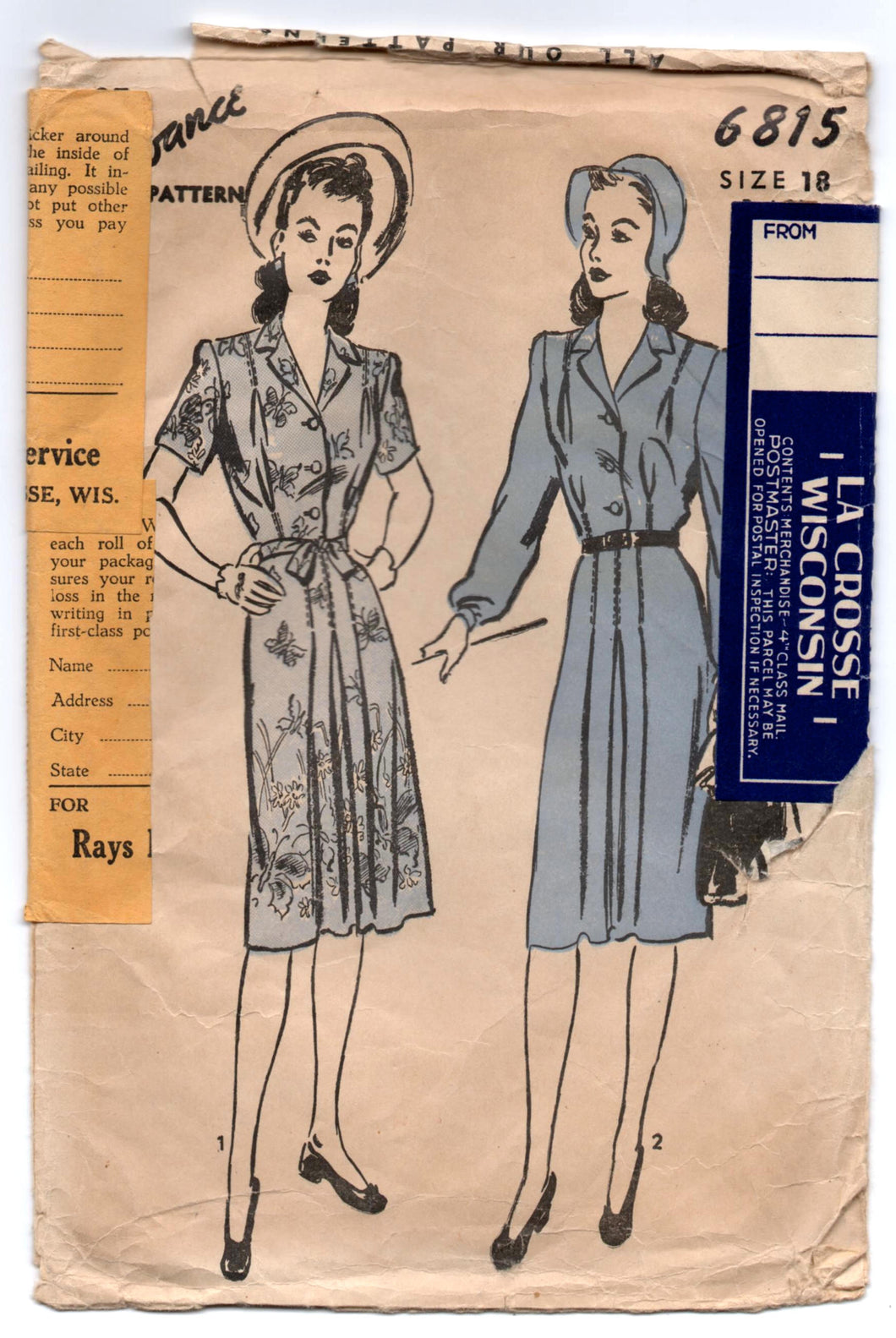 1940's Advance Shirtwaist Dress with Tie Belt Pattern - Bust 36