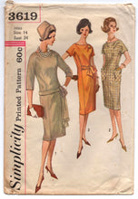 "1960's Simplicity Sheath Dress with Sash and Pockets Pattern - Bust 34"" - No. 3619"