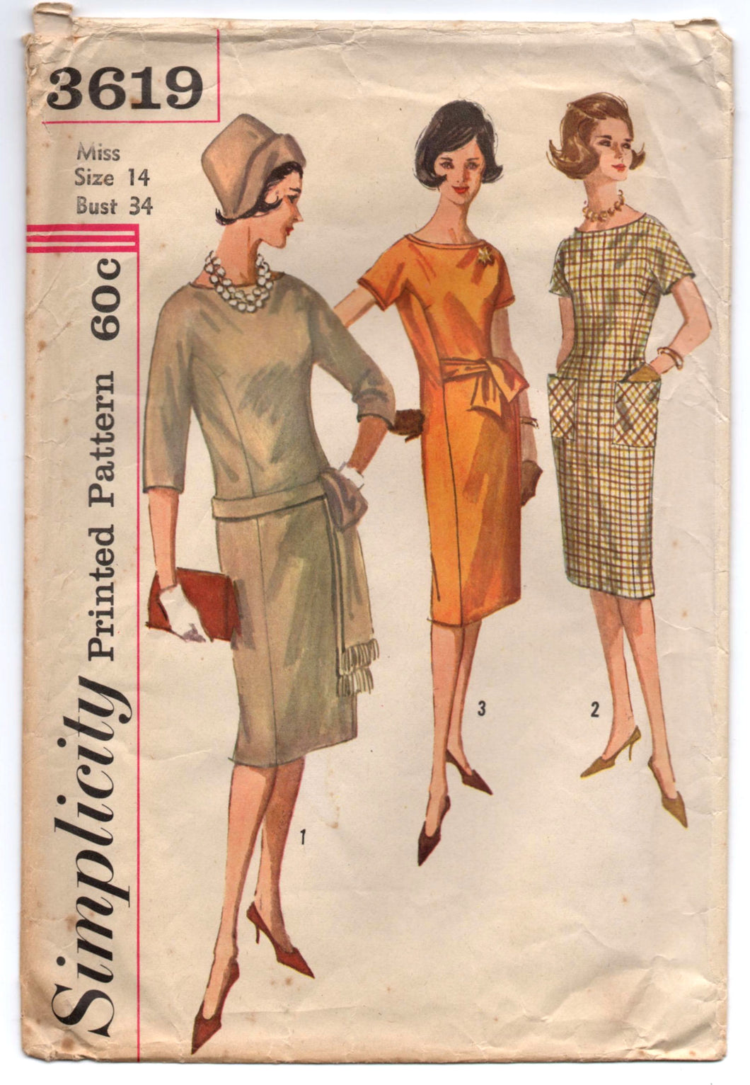 1960's Simplicity Sheath Dress with Sash and Pockets Pattern - Bust 34