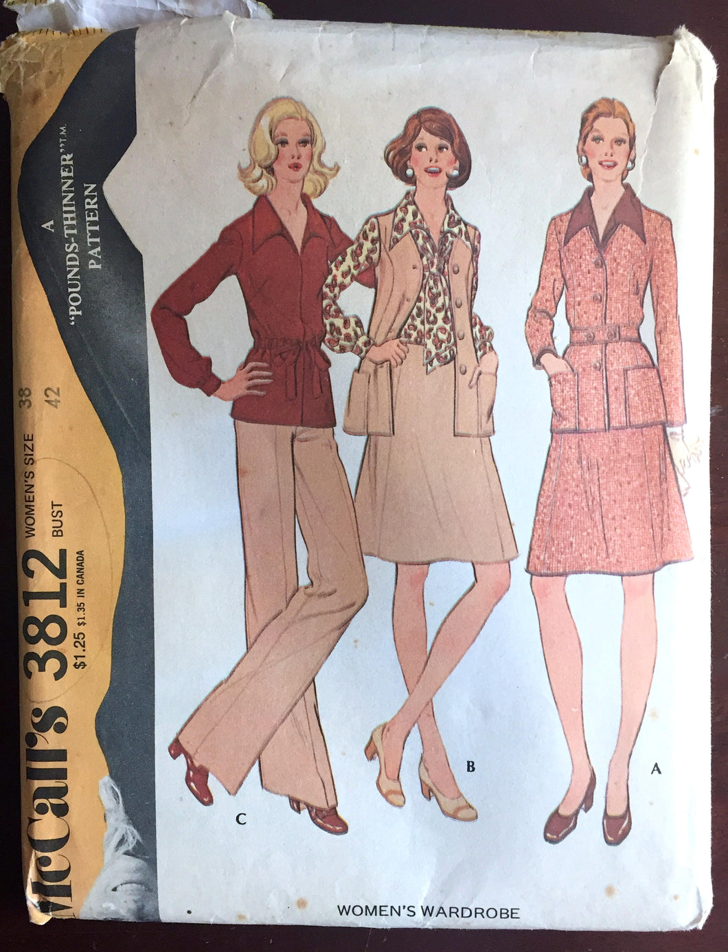 1970's McCall's Shirt, Skirt, Pants and Jacket Pattern - Bust 42