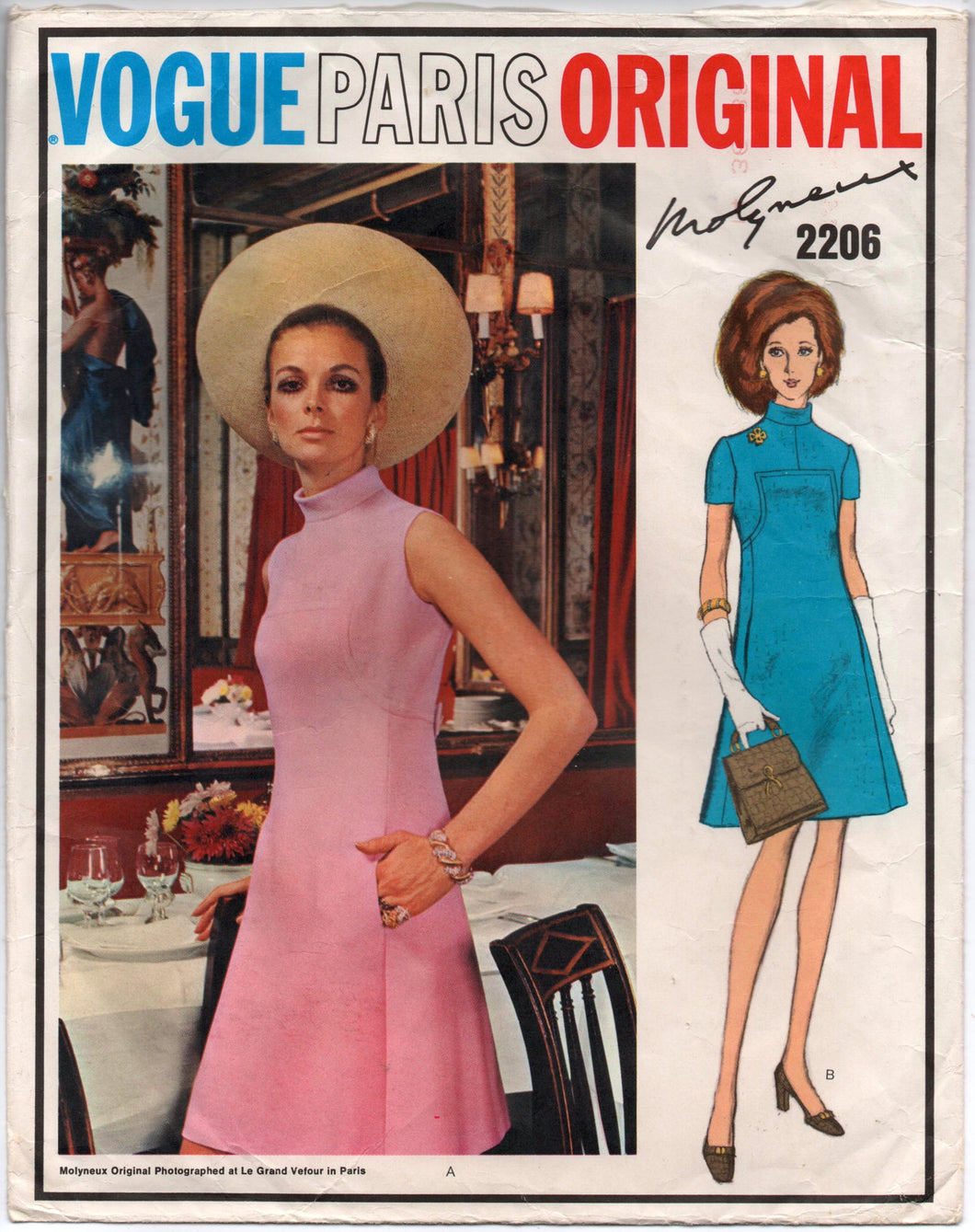1960's Vogue Paris Original One-Piece Mod Dress Pattern - UC/FF - MOLYNEAUX - Bust 36