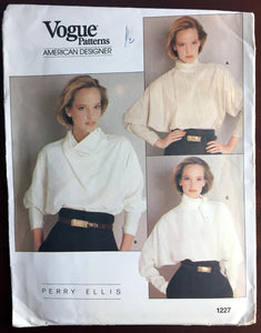 "1980's Vogue American Designer Long Dolman Sleeve Blouse Pattern - Bust 32.5"" - UC/FF - No. 1227"