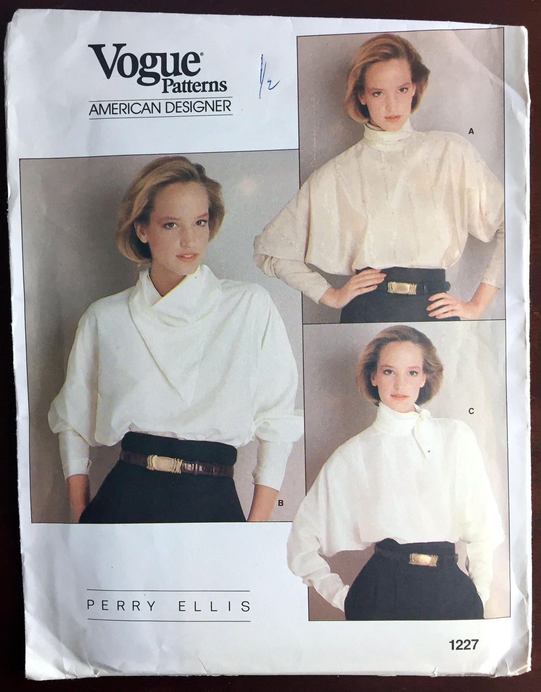 1980's Vogue American Designer Long Dolman Sleeve Blouse Pattern - Bust 32.5
