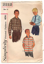 "1960's Simplicity Boy's Dress Shirt pattern - Chest 34"" - No. 2212"