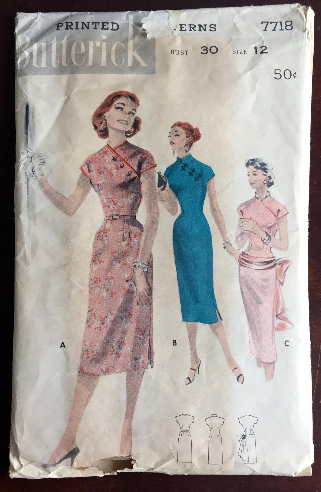 1950's Butterick One-Piece Oriental style Wiggle Dress Pattern with Hip band and Sash - Bust 30