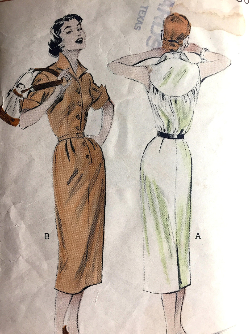 1950's Butterick One-Piece Wing-Collar Wiggle Dress Pattern - Bust 32