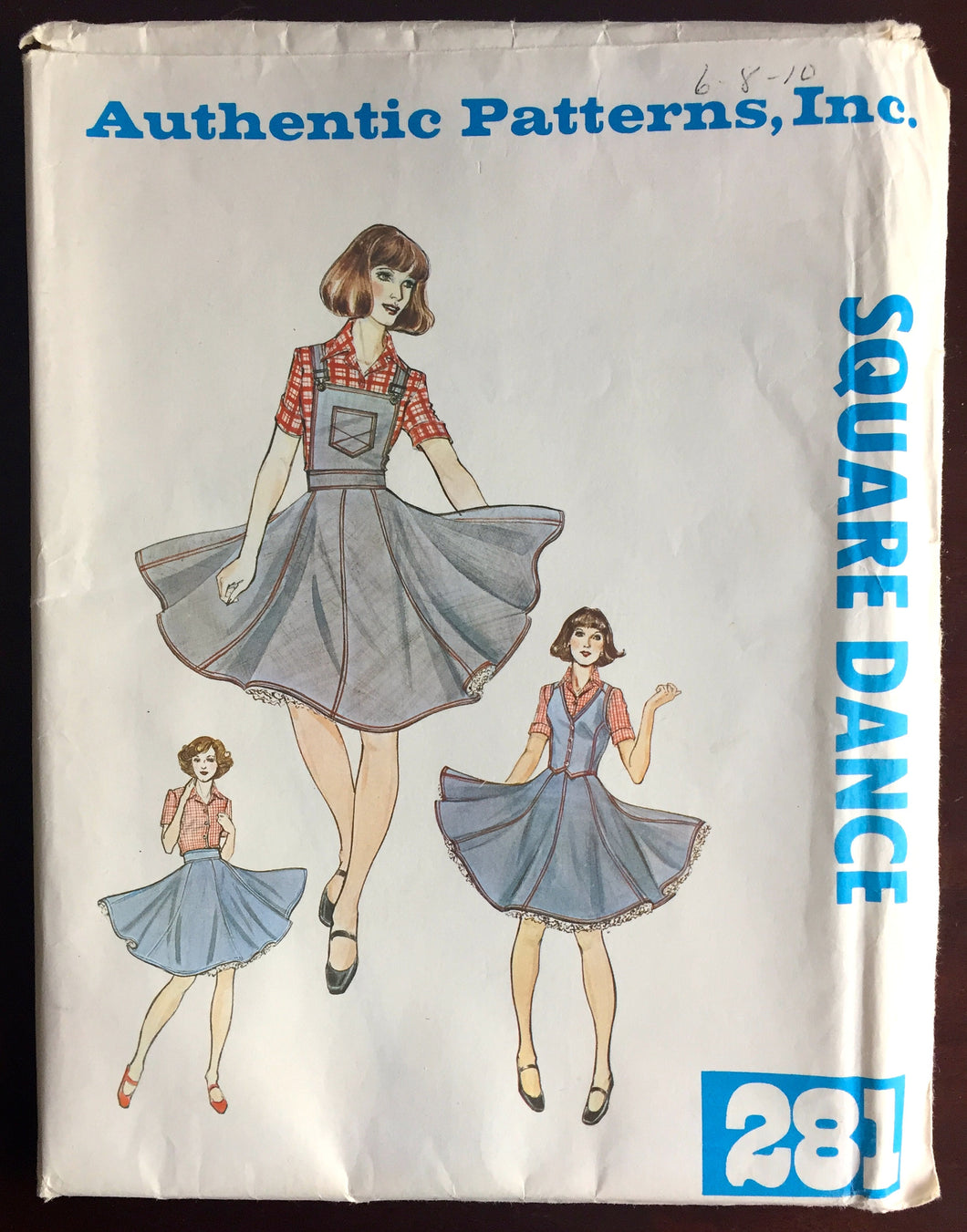 1970's Authentic Square Dance Skirt with Detachable Bib and Vest pattern - Bust 30.5-32.5