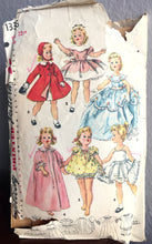 "1950's Simplicity Wardrobe, Ball Gown, Cape, Full Dress, for Sweet Sue 22"" Doll Pattern- UC/FF - No. 1336"