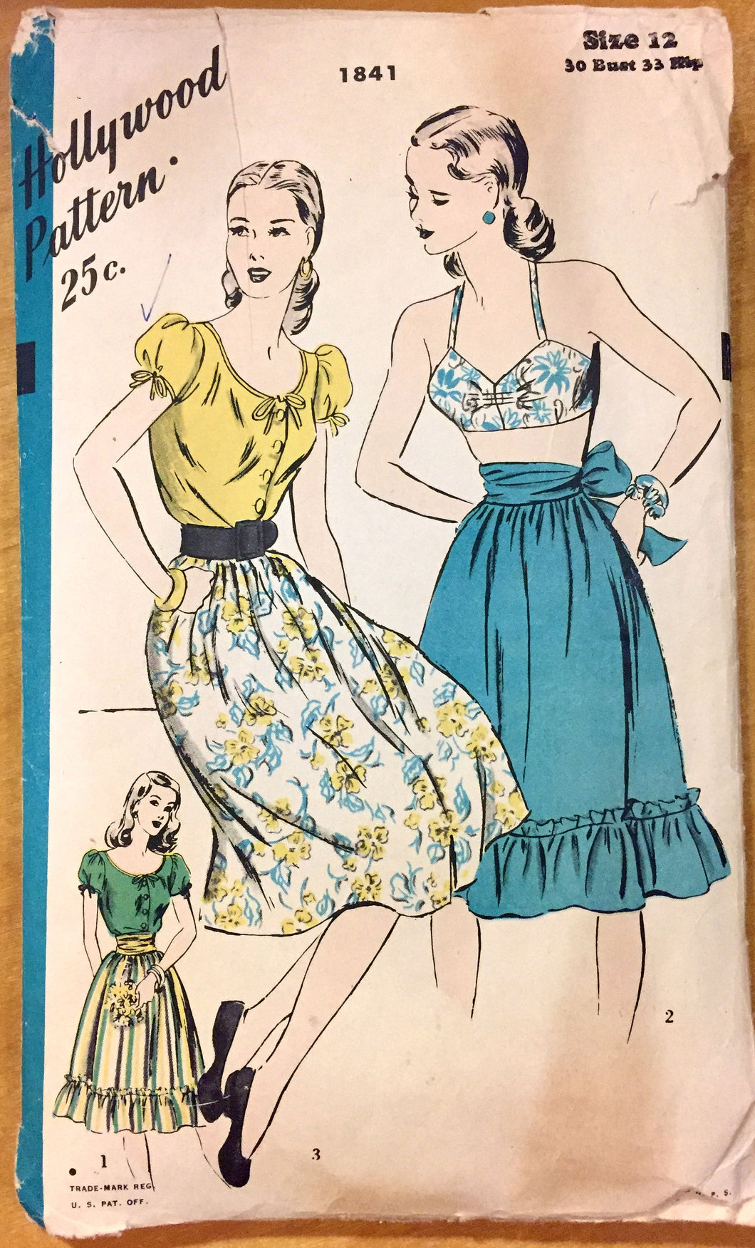 1950's Hollywood Bra, Peasant Blouse, and Full Skirt Pattern - Bust 30