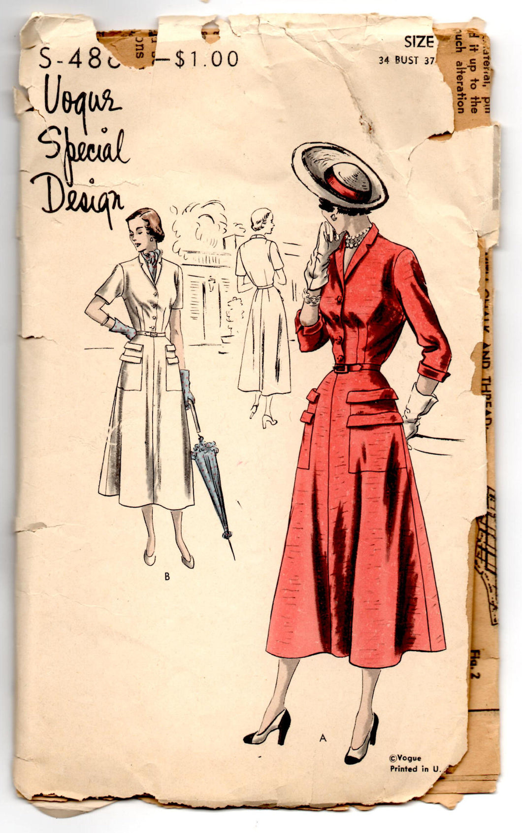 1950's Vogue Special Design Day Dress with Double Pockets and Button Up Top Pattern - Bust 34