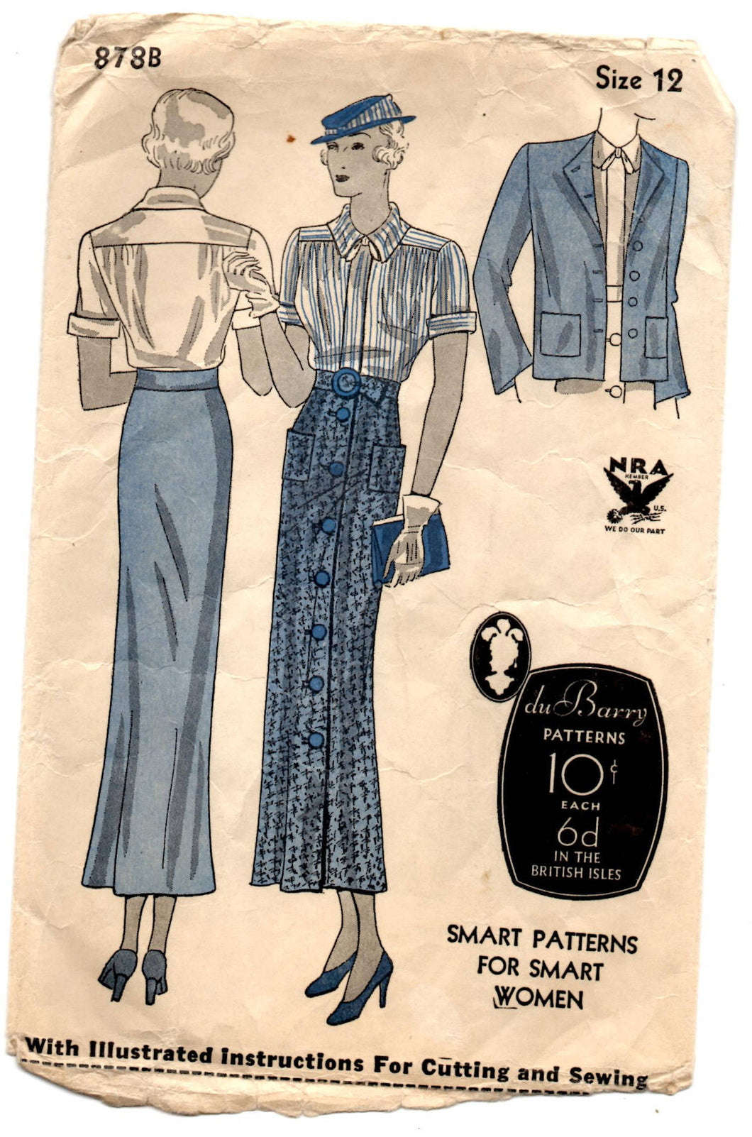 1930's DuBarry Blouse, Slim Skirt and Jacket Pattern - Bust 30