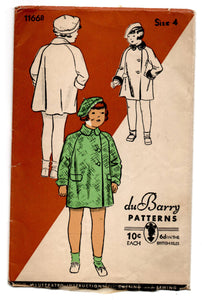 "1930's DuBarry Girl's Coat with Peter Pan collar Pattern - Breast 23"" - No. 1166B"