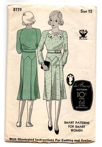1930's DuBarry One-Piece Dress with Button detail Collar and Pleated Skirt Pattern - Bust 30