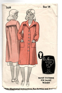 "1930's DuBarry Coat, Smock or House Coat Pattern - Bust 32"" - No. 761B"
