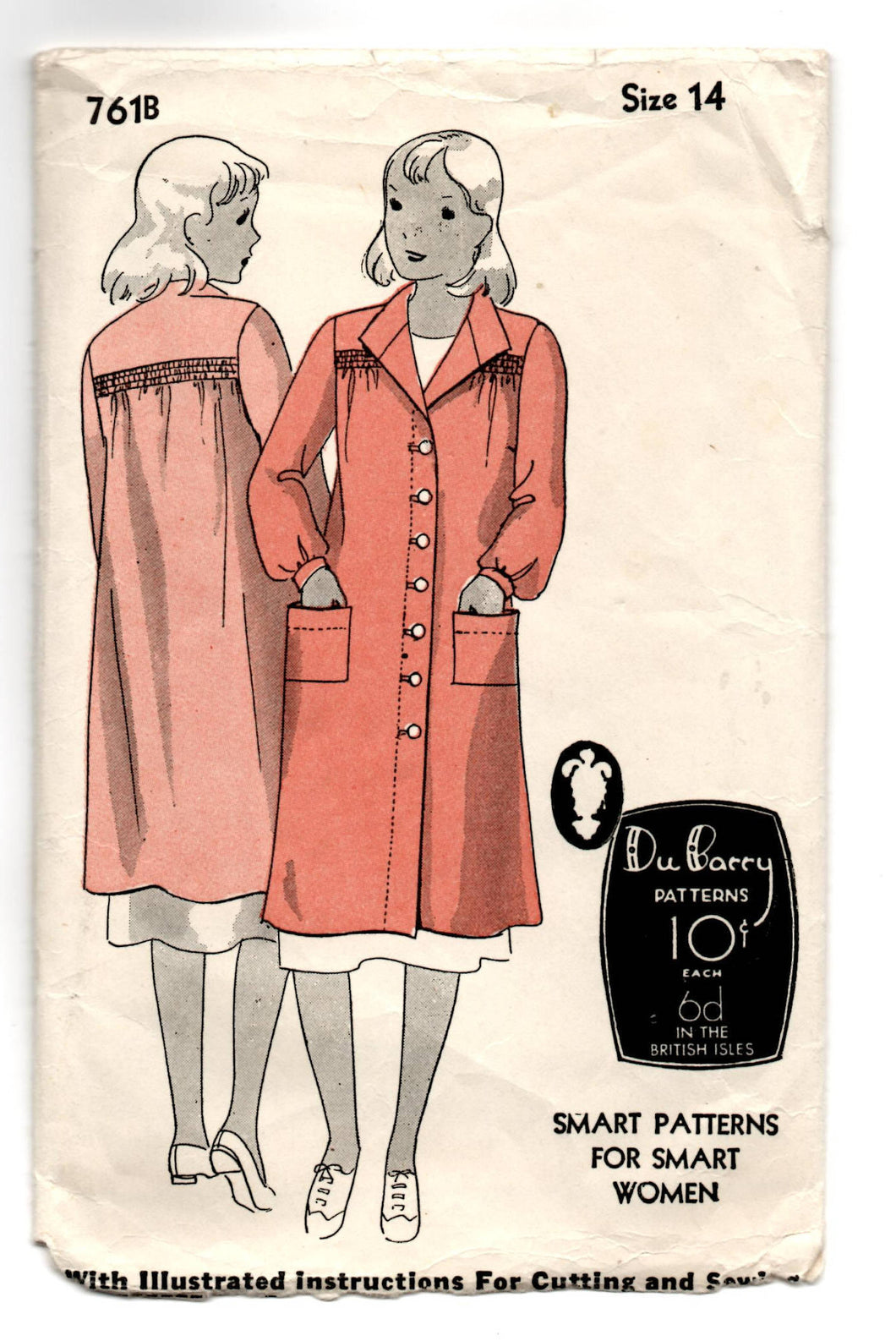 1930's DuBarry Coat, Smock or House Coat Pattern - Bust 30