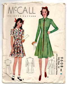 "1930's McCall Girl's One-Piece Dress with Zip or Button Front Pattern - Breast 26"" - No. 9608"