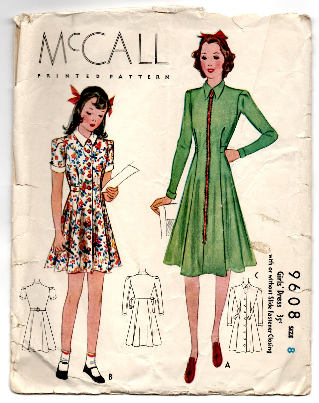 1930's McCall Girl's One-Piece Dress with Zip or Button Front Pattern - Breast 26