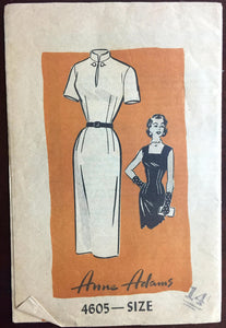 "1960's Anne Adams Wiggle Dress with High collar or Square collar pattern - Bust 32"" - No. 4605"
