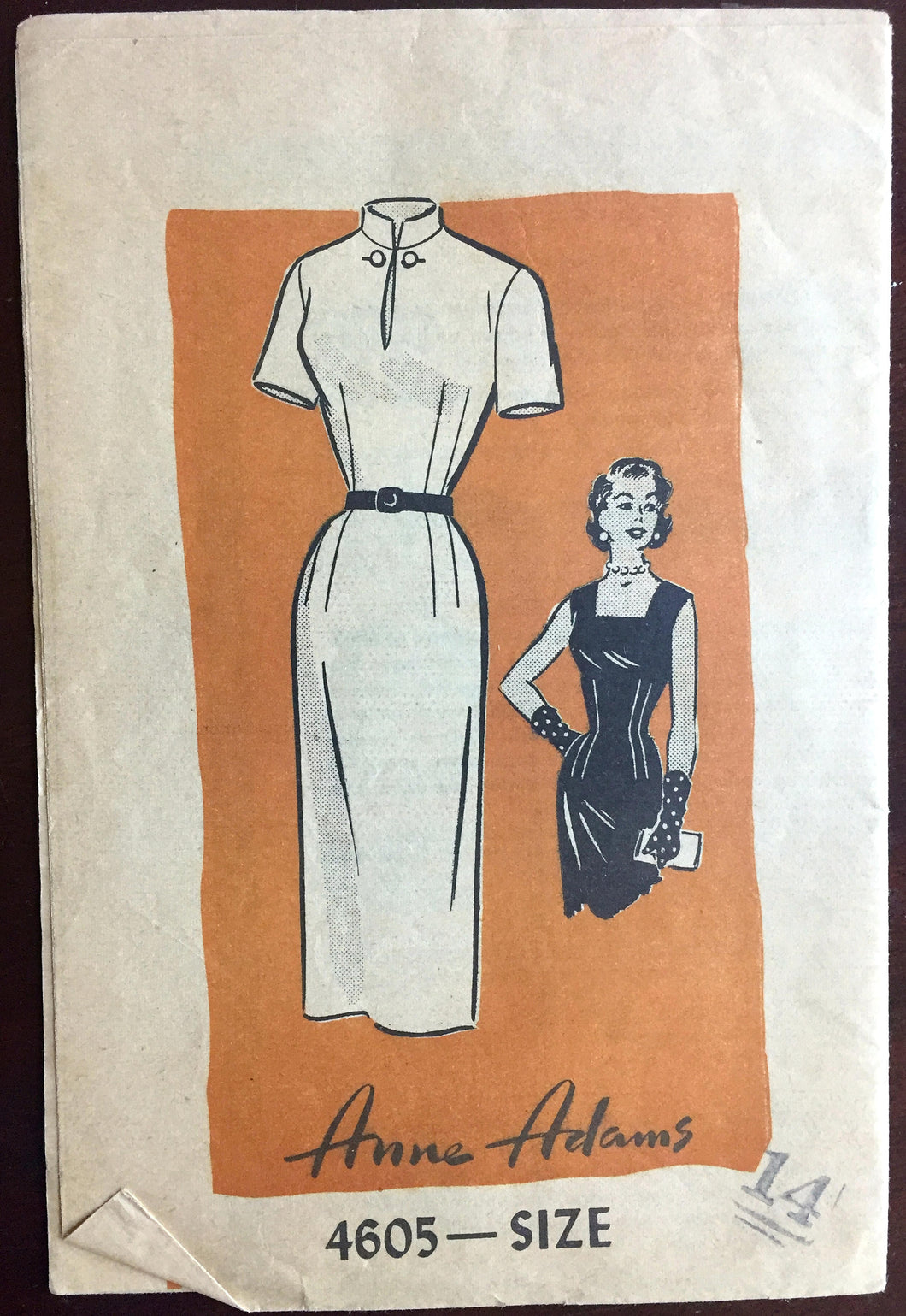1960's Anne Adams Wiggle Dress with High collar or Square collar pattern - Bust 32