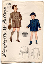 1940's Simplicity Boy's Double Breasted Coat Pattern - 4 years - UC/FF - No. 3643