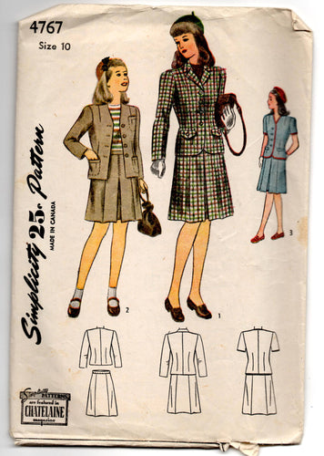 1940's Simplicity Girl's Two Piece Suit Pattern - 10 years - No. 4767