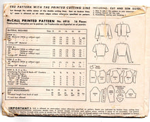 "1940's McCall Bolero Jacket pattern, Double-breasted, button up or open Pattern - Bust 32"" - UC/FF - No. 6916"
