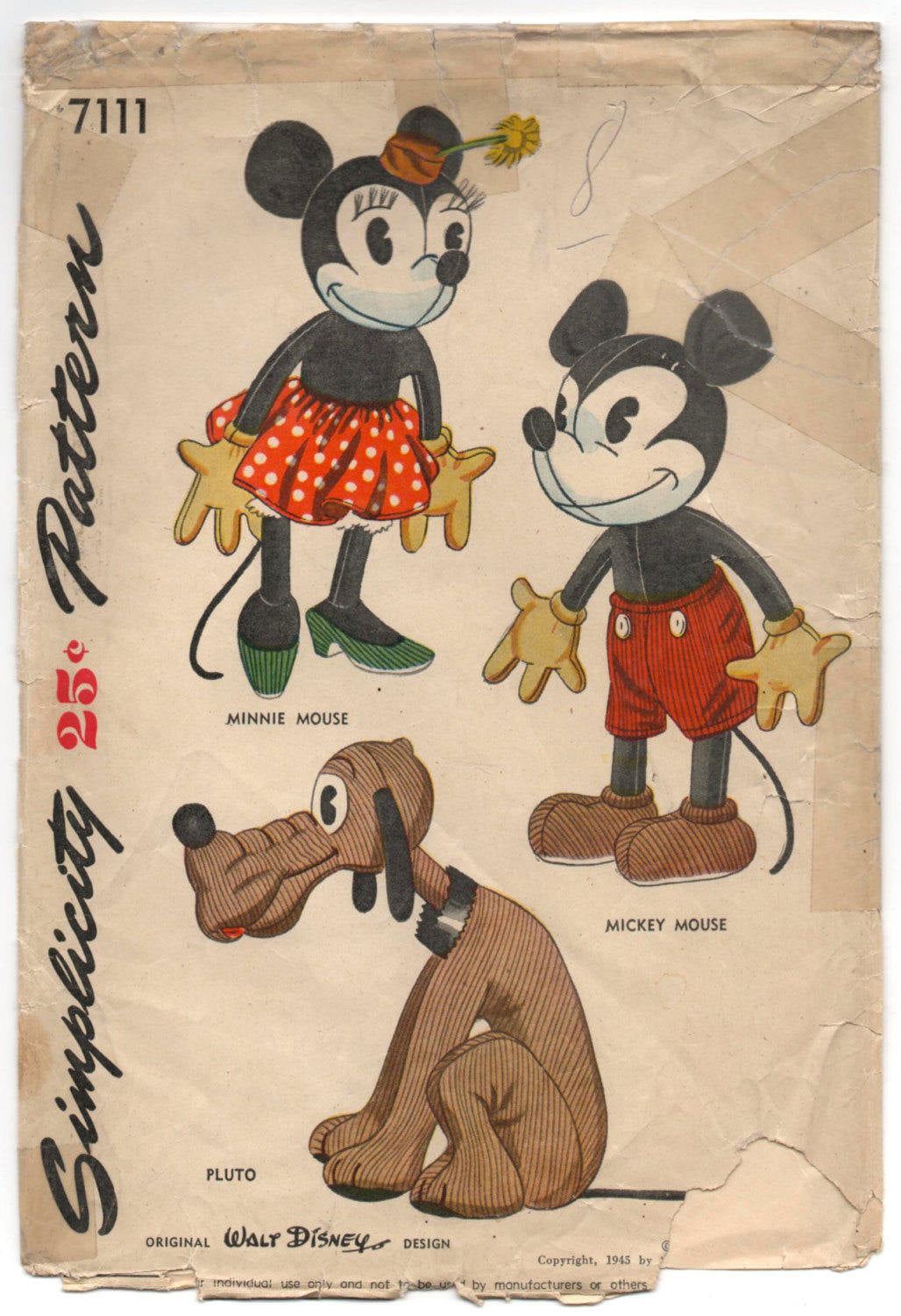 Digital Download - 1940's Simplicity Disney Mickey Mouse Stuffed Animal Pattern - No. 7111