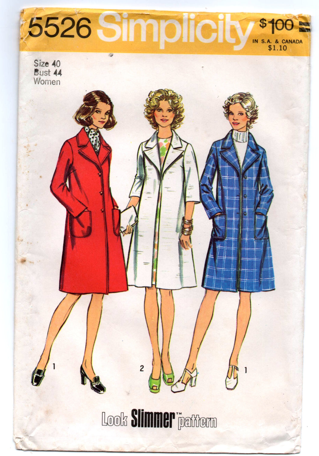 1970's Simplicity Coat with wide lapels Pattern - Bust 44