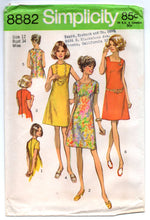"1970's Simplicity One-Piece Dress with square or high collar Pattern - Bust 34"" - UC/FF - No. 8882"