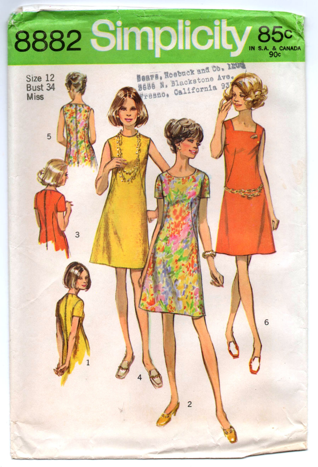 1970's Simplicity One-Piece Dress with square or high collar Pattern - Bust 34